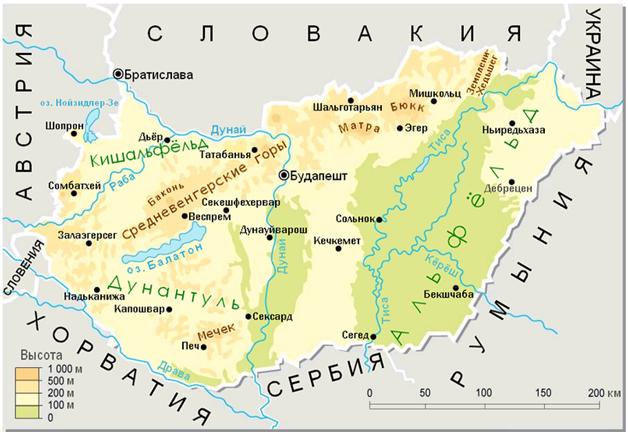 Венгерский язык, карта венгрии