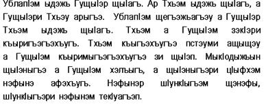 Образец текста на адыгейском языке